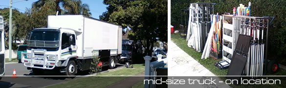 Mid-size truck on location